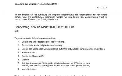 Einladung zur Mitgliederversammlung 2020 des Fördervereins!